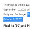 互联网信息:Google Pixel 5 Pixel 4a(5G)的发布日期可能是10月8日